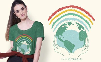 Projeto do t-shirt do arco-íris da terra
