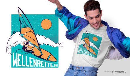 Diseño de camiseta alemana de surf
