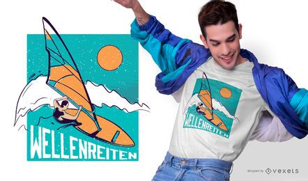 Diseño de camiseta de surf alemán