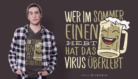Diseño de camiseta de cita de cerveza alemana