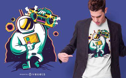 Diseño de camiseta Astronaut Boombox