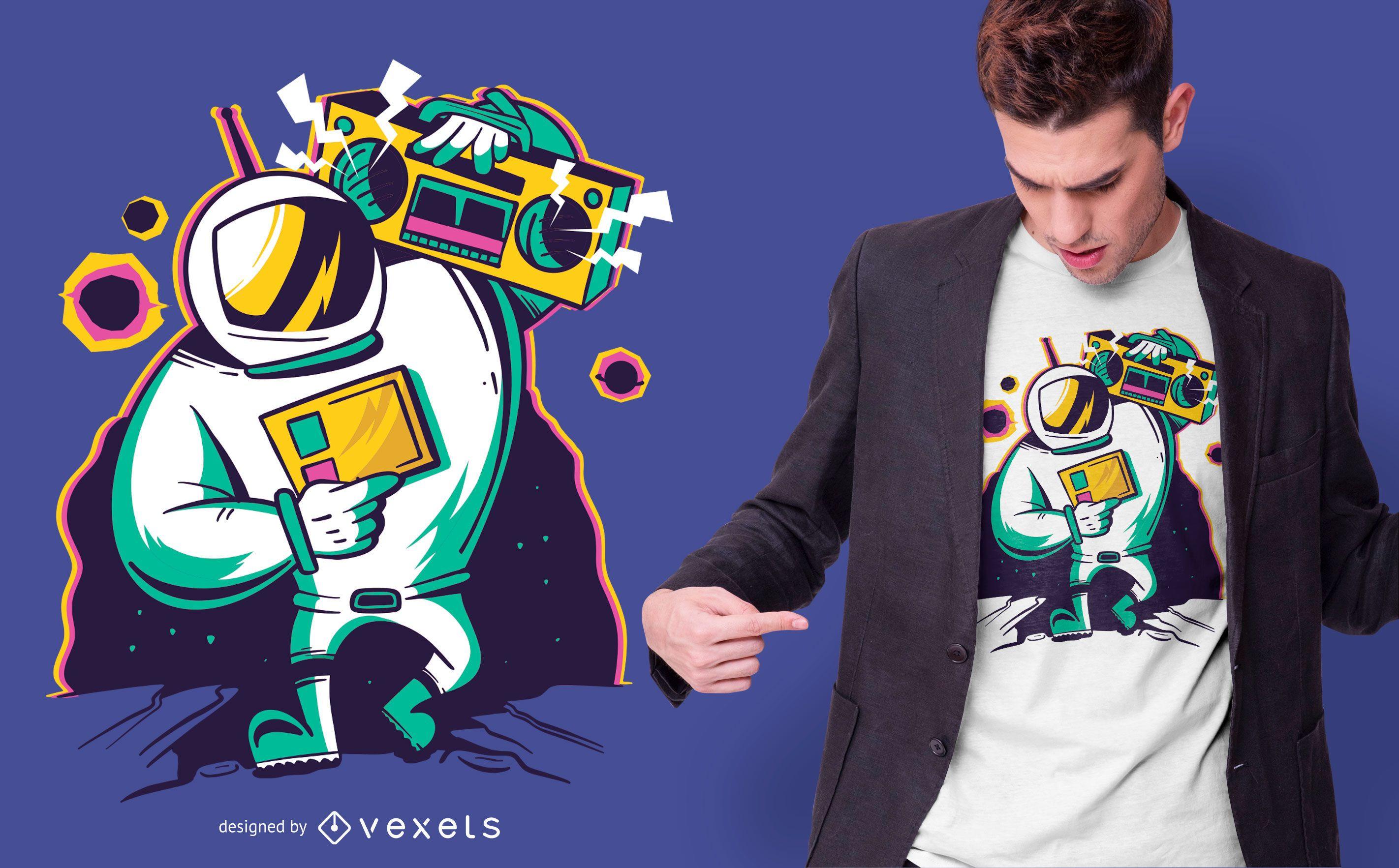 Astronaut Boombox T-shirt Design