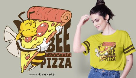 A abelha ama o design do t-shirt da pizza