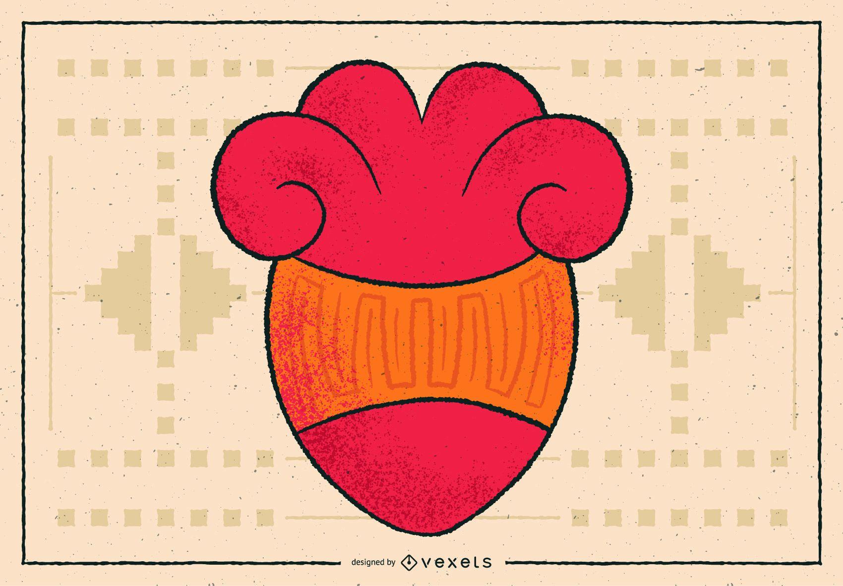 Diseño de ilustración de corazón azteca