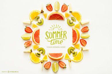 Maquete de logotipo de frutas de horário de verão