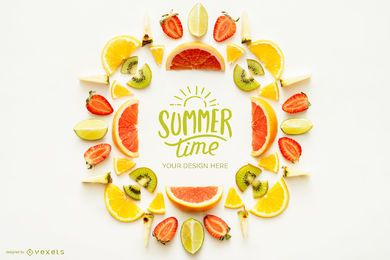 Summer Time Fruit Logo Mockup