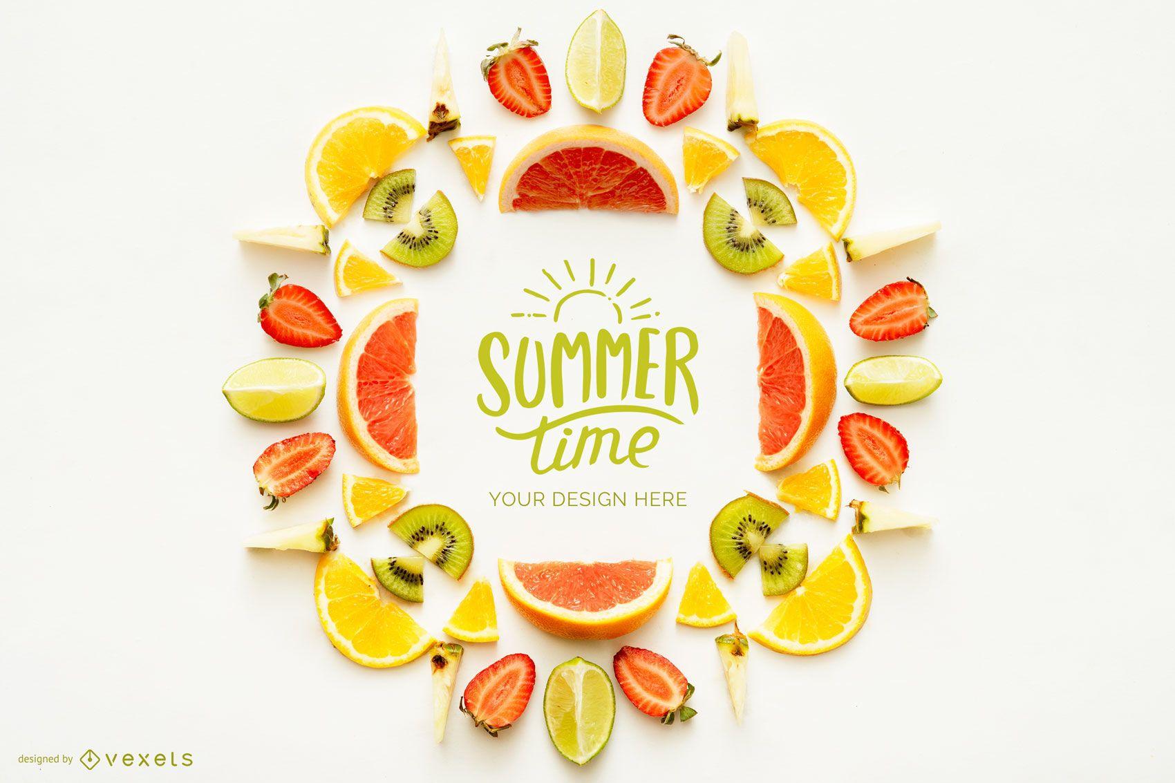 Maqueta de logotipo de fruta de horario de verano