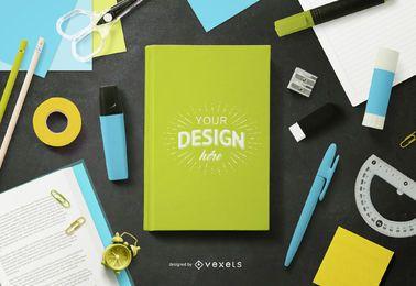 Maqueta de portada de libro de útiles escolares