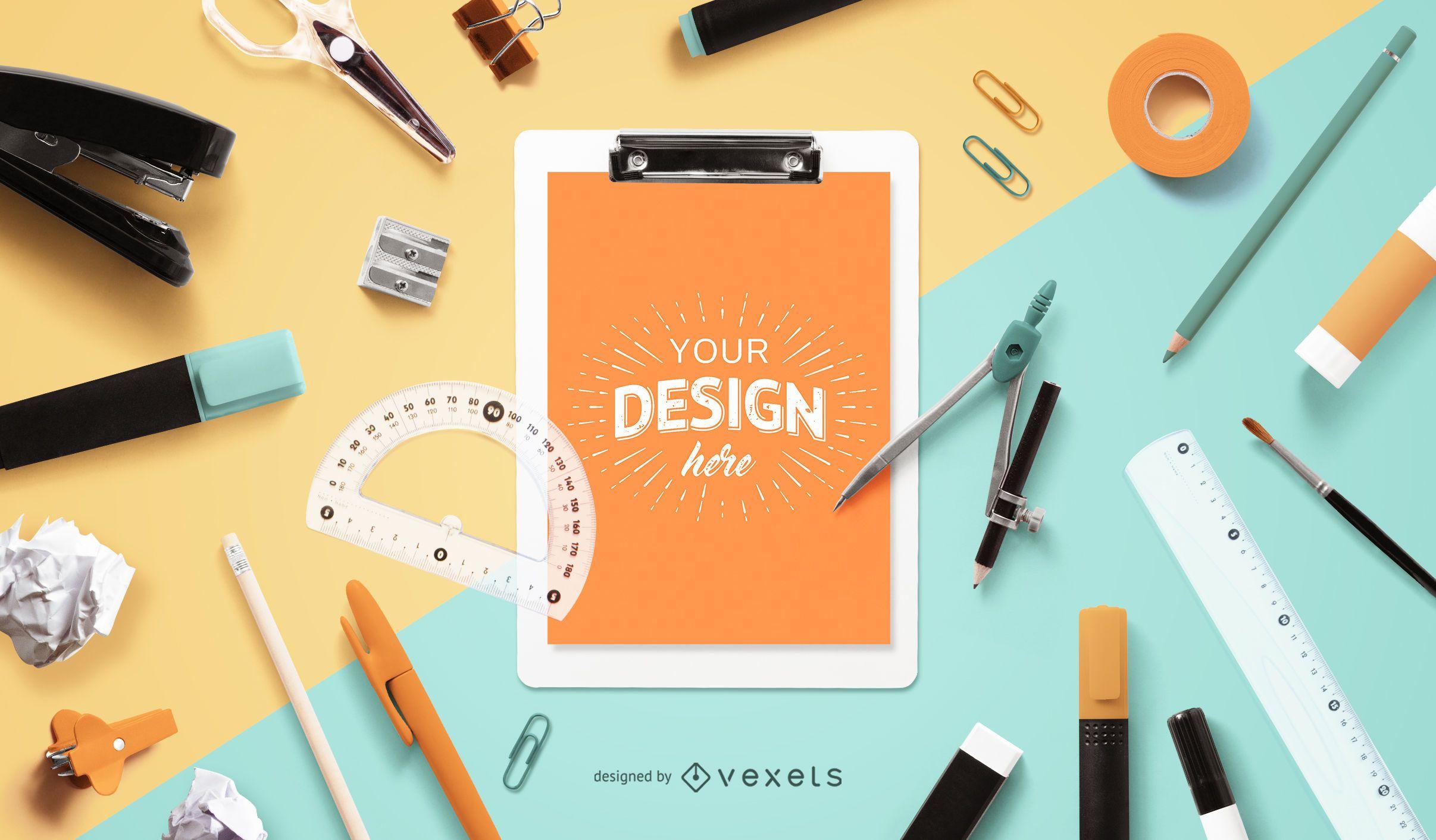Education Clipboard Mockup Design