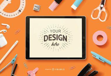 Maquete da tela do iPad para educação