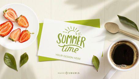 Maqueta de composición de tarjeta de horario de verano