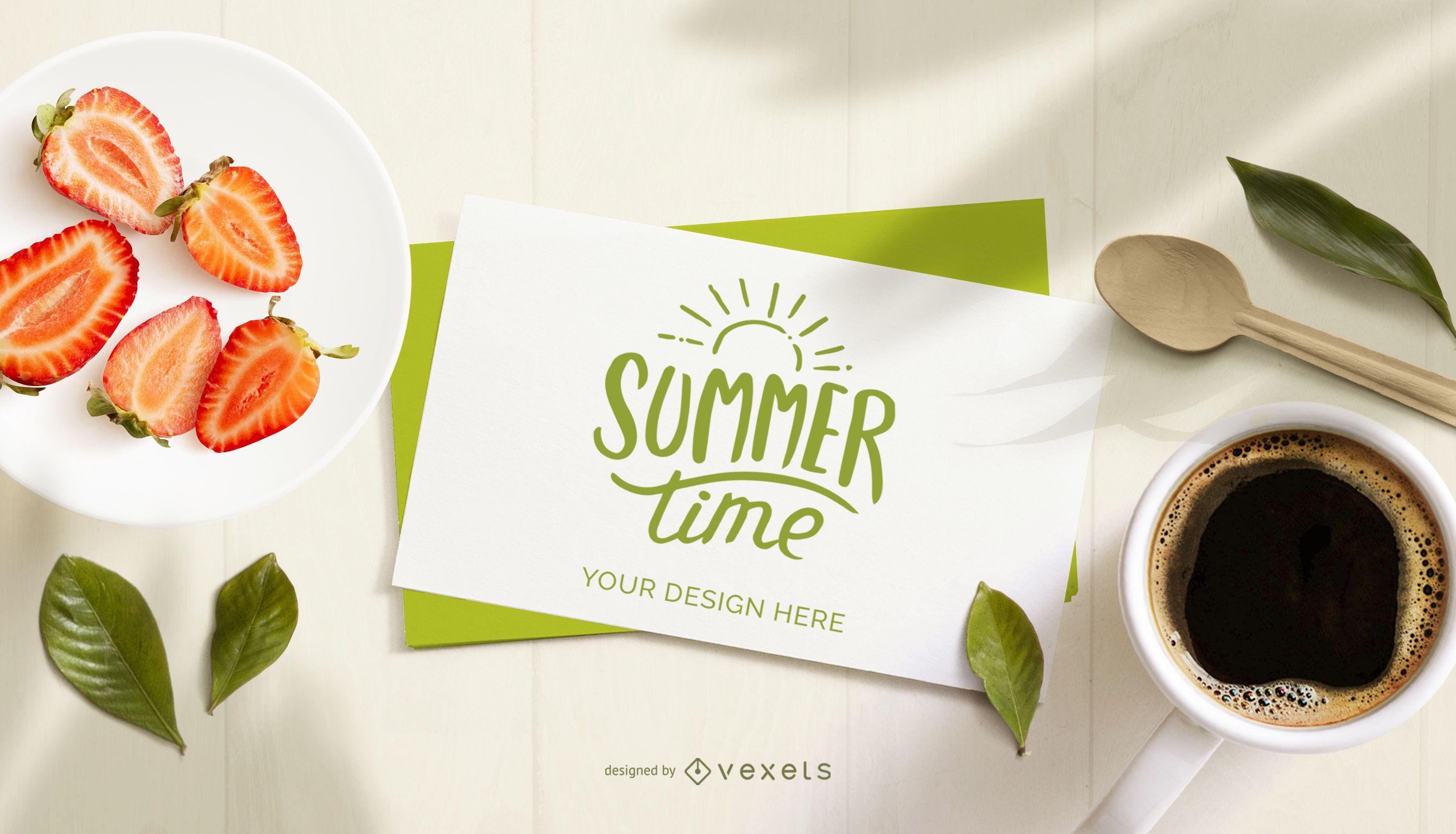 Maqueta de composici?n de tarjeta de horario de verano