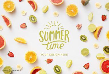 Composición de maquetas de frutas de verano