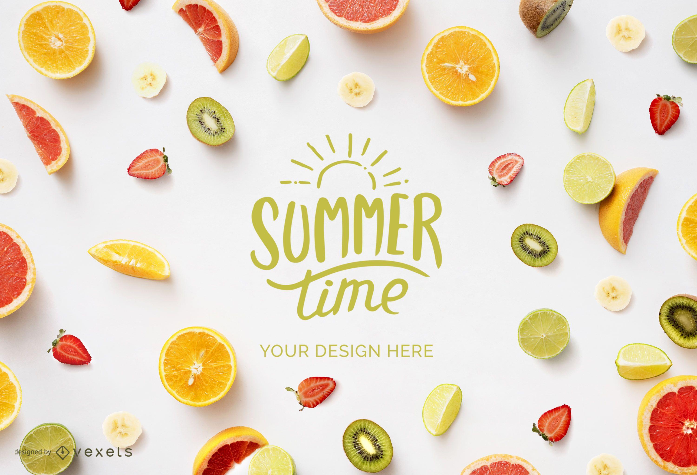 Summer fruits mockup composition