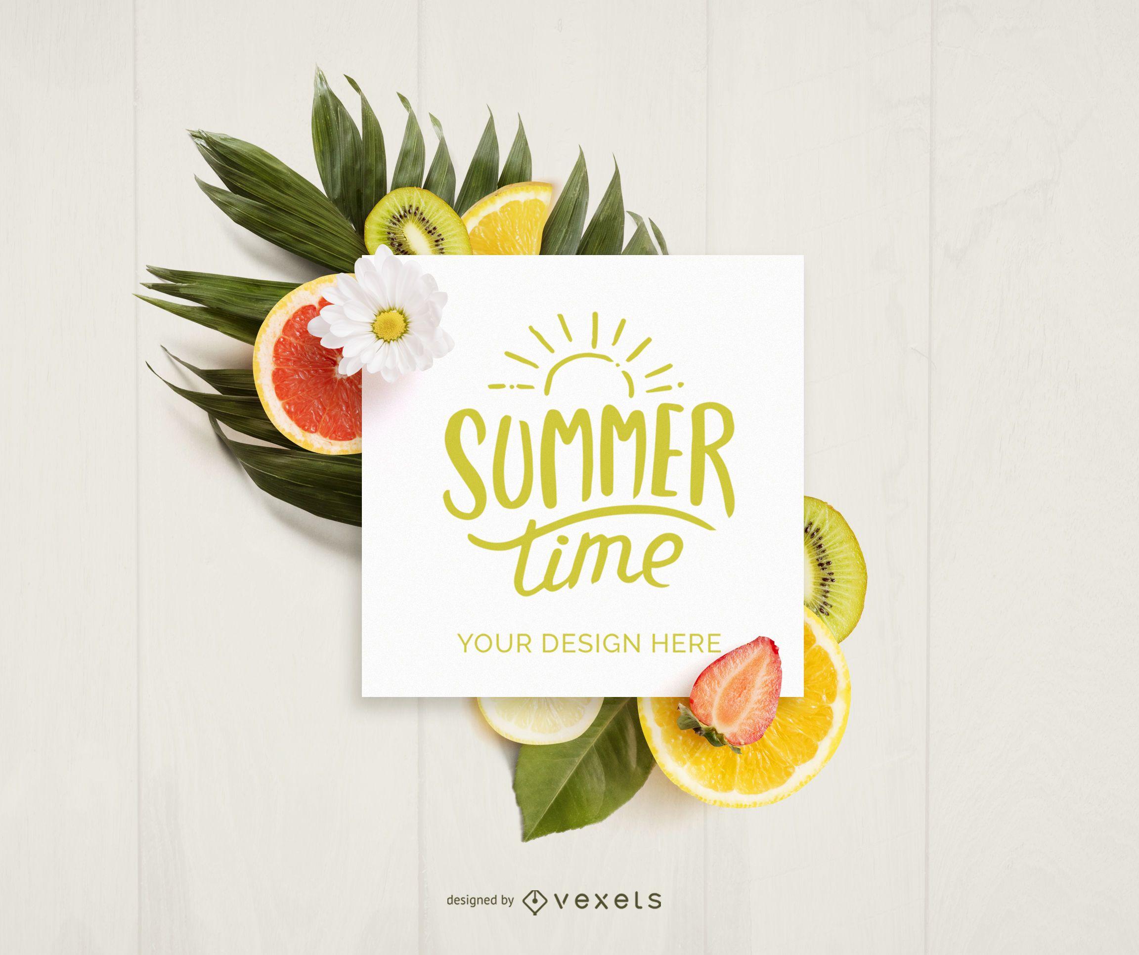 Maquete de cartão de frutas de verão