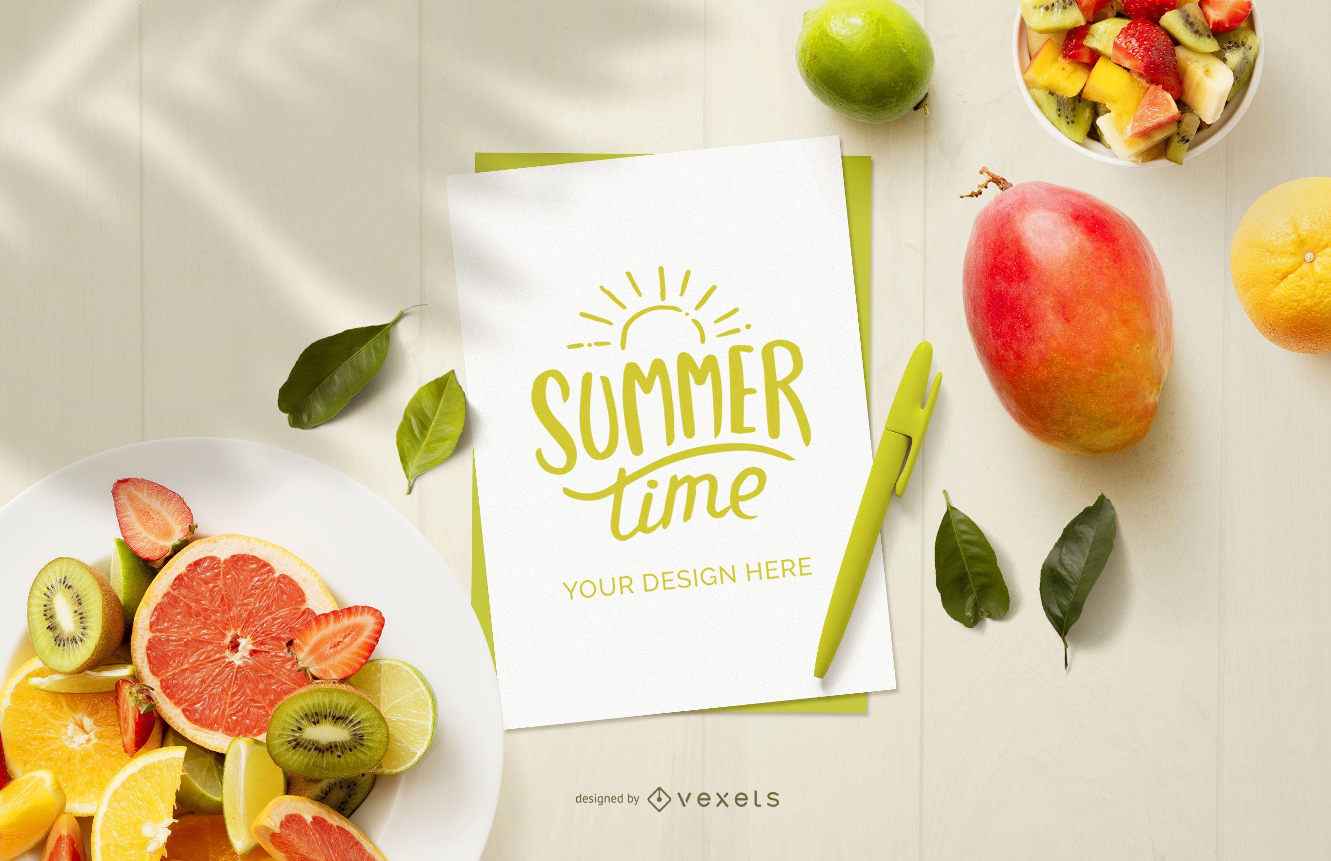 Composição de maquete de papel de frutas de verão