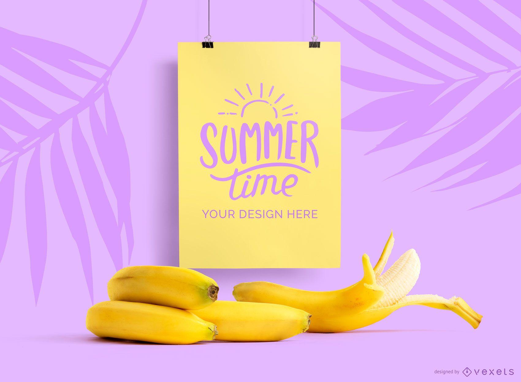Hanging poster banana mockup