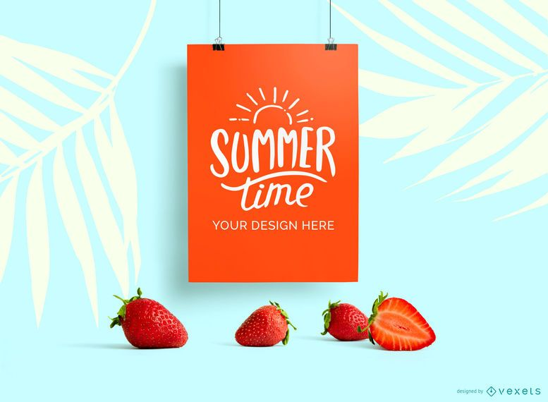 Hanging poster strawberry mockup