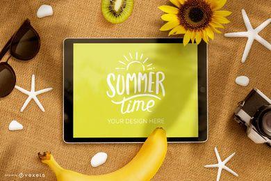 Composição de maquete de ipad de verão