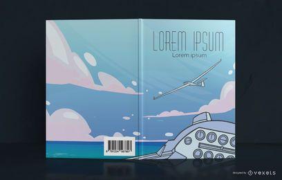 Design de capa de livro de avião planador