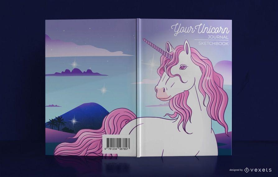 Diseño ilustrado de portada de libro de diario de unicornio