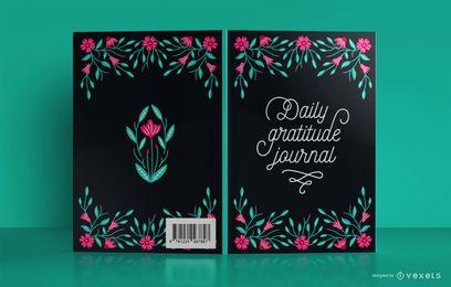 Design floral da capa do livro da gratidão diária