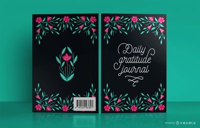 Diseño de portada de libro floral de gratitud diaria