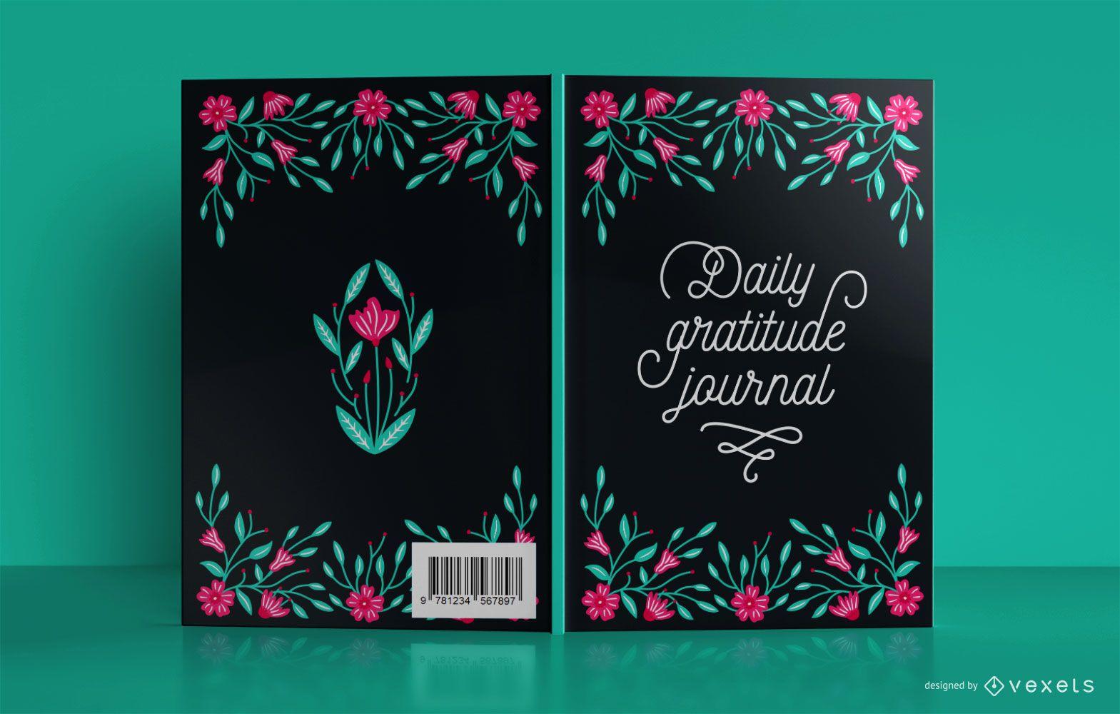 Design de capa de livro floral de gratidão diária