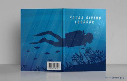 Diseño de portada de libro de registro de buceo