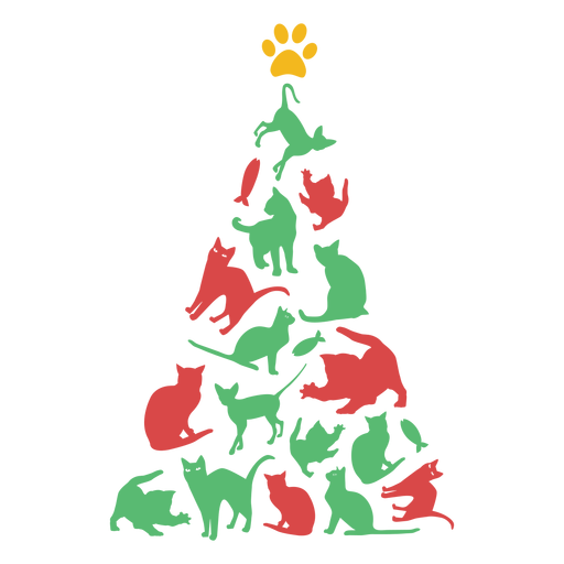 Awesome cats christmas tree Transparent PNG