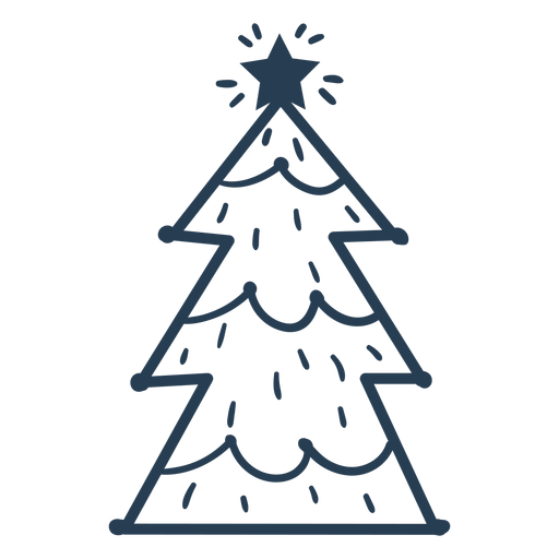 Awesome scandinavian christmas tree stroke Transparent PNG