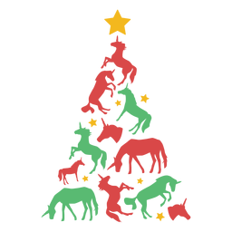 Árvore de Natal incrível unicórnios