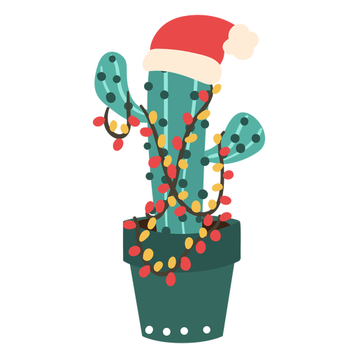 Cactus con gorro de santa Transparent PNG