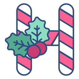 Candycane christmas letter h