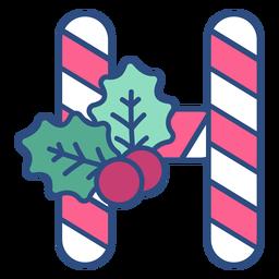 Candycane navidad letra h