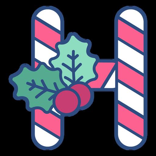 Candycane christmas letter h Transparent PNG