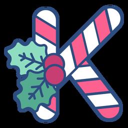 Candycane navidad letra k