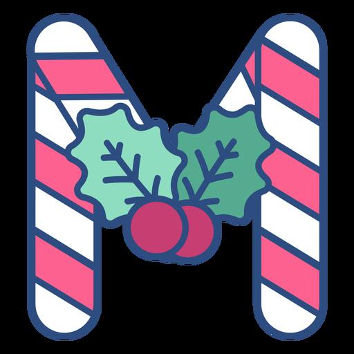 Candycane christmas letter m
