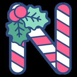 Candycane christmas letter n