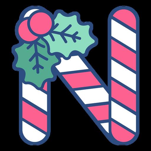 Candycane navidad letra n