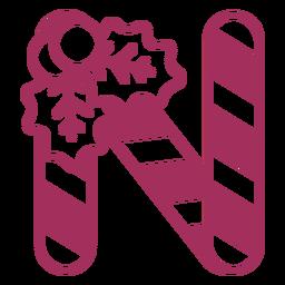 Curso de letra n do Natal Candycane