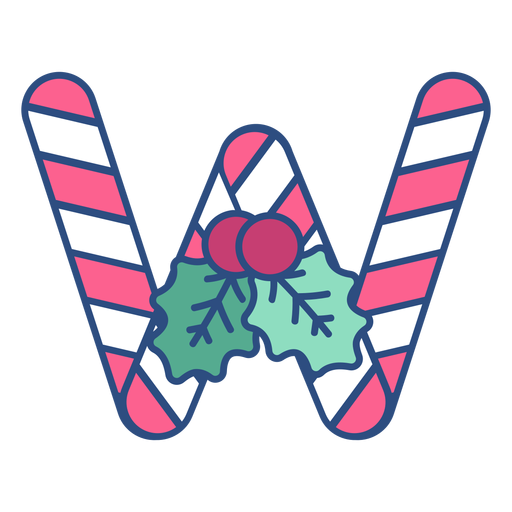 Candycane christmas letter w