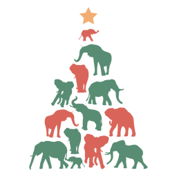 Christmas tree elephant composition