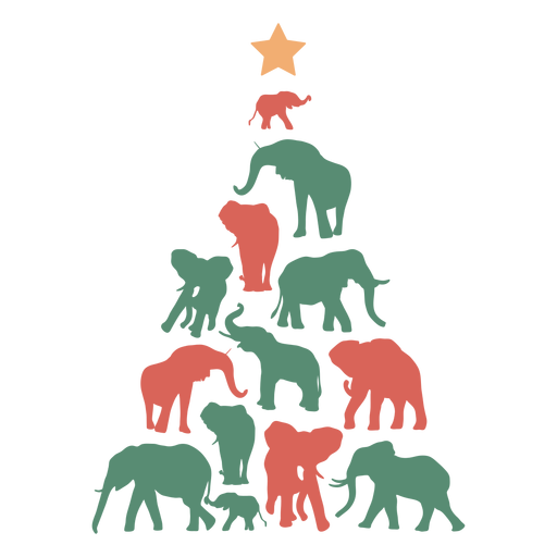 Christmas tree elephant composition