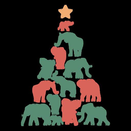 Composición de elefantes de árbol de navidad