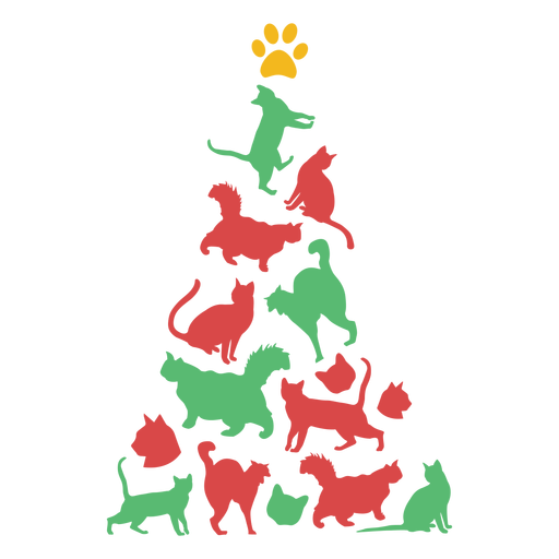Cute cats christmas tree Transparent PNG