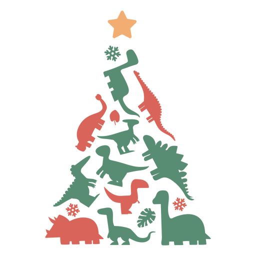 Cute dinosaurs christmas tree Transparent PNG
