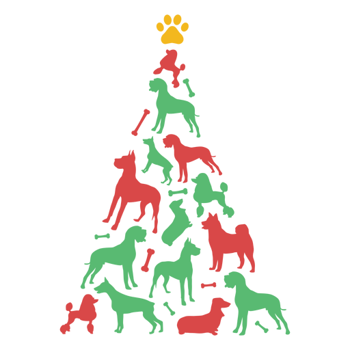 Cute dogs christmas tree Transparent PNG
