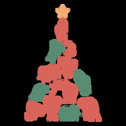 Árvore de Natal de elefantes fofos