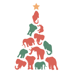 Cute elephants christmas tree